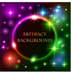 abstract background with bright neon circle and vector image