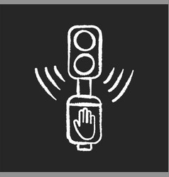 Acoustic traffic lights signals chalk white icon vector
