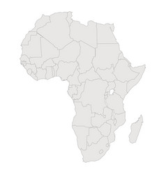 Africa contour map countries and islands vector