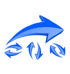 Arrows set of 3d blue in circular motion vector