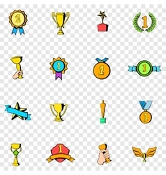 Award set icons vector image