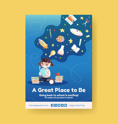 back to school and education concept with poster vector image