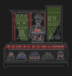 Bakery shop or confectionery store baker or cook vector