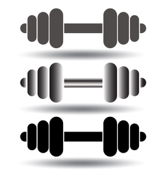 Barbell icon set vector