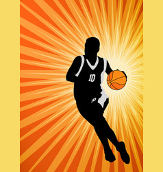basketball player on abstract orange vector image