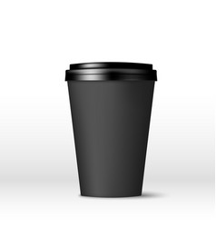 black paper coffee cup with lid coffee to go vector image