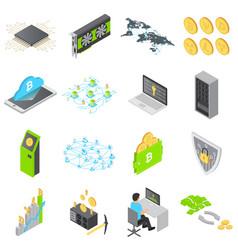 Blockchain technology icons set isometric style vector