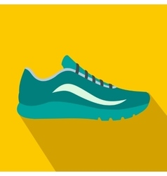 Blue sport shoes icon flat style vector