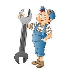 boy with a large wrench vector image