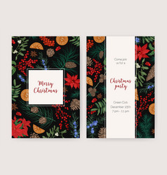 Bundle of christmas flyer card or party vector