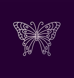 butterfly monoline logo icon vector image