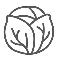 Cabbage line icon vegetable and diet vector