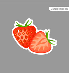 cartoon fresh strawberry isolated sticker vector image