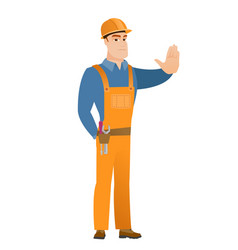 Caucasian builder showing stop hand gesture vector