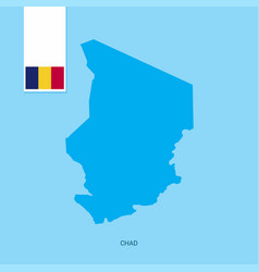 Chad country map with flag over blue background vector