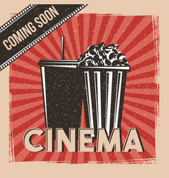Cinema coming soon movie premier poster vintage vector