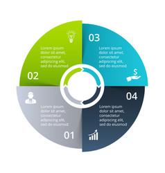 Circle diagram divided into 4 parts steps vector
