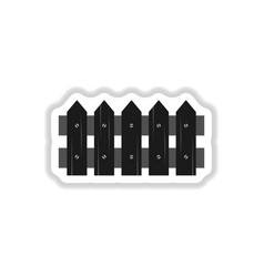Classic wooden fence icon in paper sticker vector