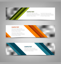Collection banners with oblique colored stripes vector