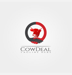 Cow farm icon template cattle farm symbol deal vector