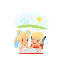 cute little boy and girl reading fairy tail vector image