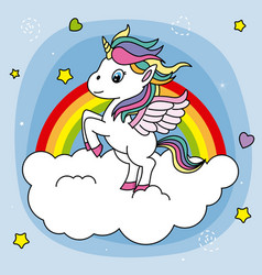 Cute unicorn jumping on a cloud vector