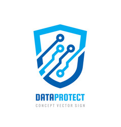date protection - logo abstract vector image