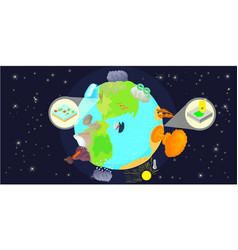 Disaster globe horizontal banner cartoon style vector