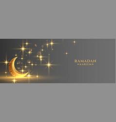 Eid festival golden moon with sparkles ramadan vector