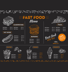 Fast food menu sketch sandwich burger pizza vector