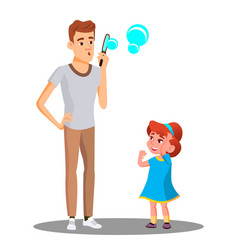 father with daughter blow the soap bubbles vector image