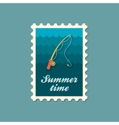 Fishing Rod stamp Summer Vacation vector image