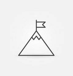 flag on mountain top outline icon success vector image