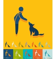Flat design training dogs vector image