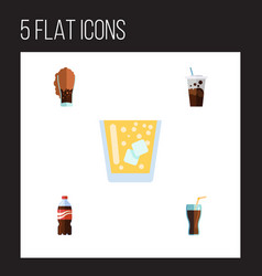 Flat icon drink set of bottle lemonade fizzy vector