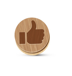 flat wooden icon of ok vector image