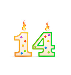 fourteen years anniversary 14 number shaped vector image