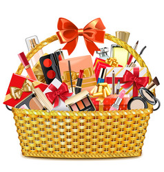 Gift basket with makeup cosmetics vector