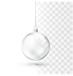 glass christmas ball realistic glossy crystal vector image