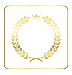 Gold laurel wreath crown vector