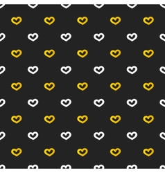 Golden and white hearts seamless pattern vector image