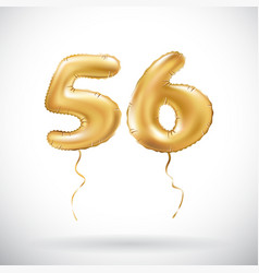 golden number 56 fifty six metallic balloon party vector image