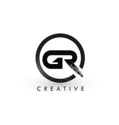 Gr brush letter logo design creative brushed vector