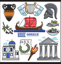 Greece travel and culture landmarks sightseeing vector