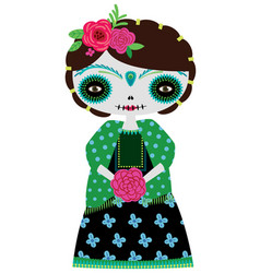 Green catrina doll on a white vector