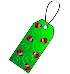 Green gift tag vector