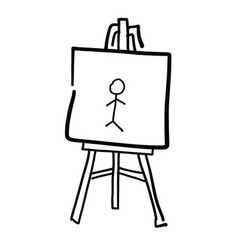 Hand drawn sketch easel vector