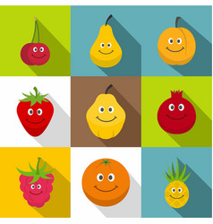 happy smiling fruit icons set flat style vector image