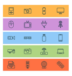 hardware icons set with personal computer player vector image