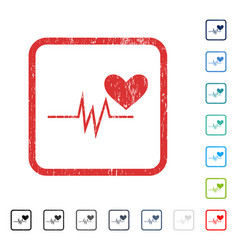 Heart pulse signal icon rubber watermark vector